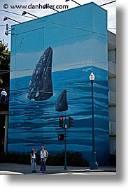 blues, california, murals, piers, san francisco, vertical, west coast, western usa, whale, photograph