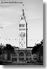 black and white, buildings, california, clocks, ports, san francisco, towers, trees, vertical, west coast, western usa, photograph