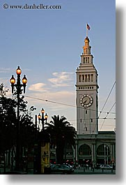 buildings, california, clocks, lamp posts, ports, san francisco, towers, trees, vertical, west coast, western usa, photograph