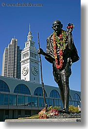 california, clock tower, clocks, ghandi, ports, san francisco, statues, towers, vertical, west coast, western usa, photograph