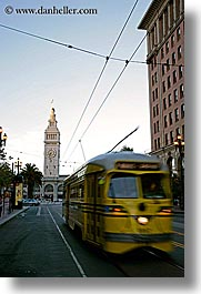 buildings, bus, california, clocks, market str, ports, san francisco, towers, trees, vertical, west coast, western usa, photograph