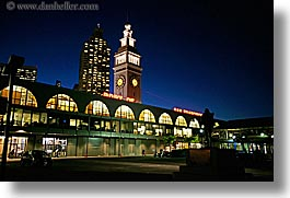 buildings, california, clock tower, ferry, horizontal, nite, ports, san francisco, west coast, western usa, photograph