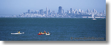 california, horizontal, kayaks, panoramic, san francisco, surfing, west coast, western usa, photograph