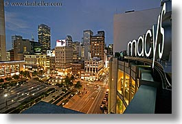 california, cityscapes, horizontal, long exposure, macys, nite, san francisco, signs, union square, west coast, western usa, photograph