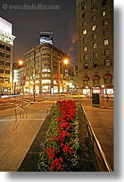 california, cityscapes, flowers, geary, long exposure, nite, powell, san francisco, union square, vertical, west coast, western usa, photograph