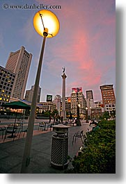 california, cityscapes, dusk, lamp posts, nite, san francisco, slow exposure, union square, vertical, west coast, western usa, photograph