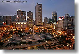 california, cityscapes, from, horizontal, long exposure, nite, san francisco, union square, west coast, western usa, photograph