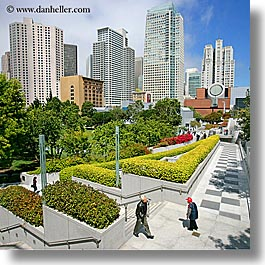 buildings, california, cityscapes, gardens, pedestrians, people, san francisco, square format, west coast, western usa, yerba buena, photograph