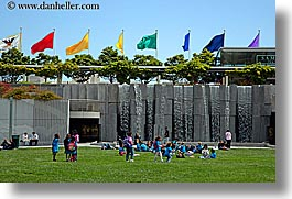 california, flags, fountains, horizontal, people, san francisco, water, waterfalls, west coast, western usa, yerba buena, photograph