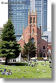 california, churches, people, san francisco, st patricks, vertical, west coast, western usa, yerba buena, photograph