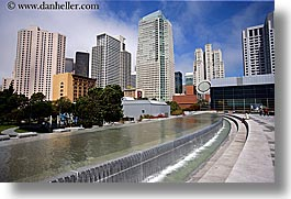 buildings, california, cityscapes, fountains, horizontal, san francisco, water, west coast, western usa, yerba buena, photograph