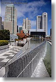 buildings, california, cityscapes, fountains, san francisco, vertical, water, west coast, western usa, yerba buena, photograph