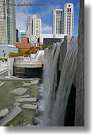 buildings, california, cityscapes, fountains, san francisco, vertical, water, waterfalls, west coast, western usa, yerba buena, photograph
