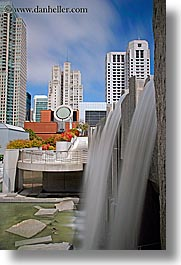 buildings, california, cityscapes, fountains, long exposure, san francisco, vertical, water, waterfalls, west coast, western usa, yerba buena, photograph
