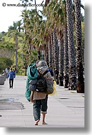 barefoot, california, hikers, people, santa barbara, sidewalks, vertical, west coast, western usa, photograph