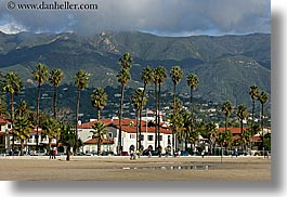 buildings, california, horizontal, mountains, nature, palm trees, plants, santa barbara, trees, west coast, western usa, photograph