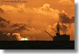 california, clouds, flash, green, horizontal, nature, oil rig, santa barbara, sky, structures, sun, sunsets, west coast, western usa, photograph