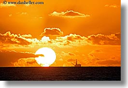 california, clouds, horizontal, nature, ocean, oil rig, oils, rigs, santa barbara, sky, structures, sun, sunsets, west coast, western usa, photograph