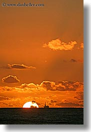 california, clouds, colors, nature, ocean, oil rig, oils, oranges, rigs, santa barbara, sky, structures, sun, sunsets, vertical, west coast, western usa, photograph