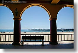 arches, archways, beaches, benches, boardwalk, california, furniture, horizontal, pillars, santa cruz, structures, west coast, western usa, photograph