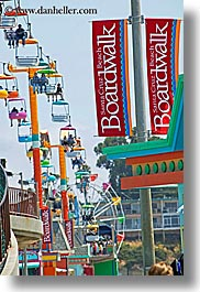 amusement park, banners, boardwalk, california, santa cruz, signs, vertical, west coast, western usa, photograph