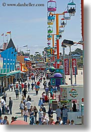 amusement park, banners, boardwalk, california, crowds, people, santa cruz, signs, vertical, west coast, western usa, photograph