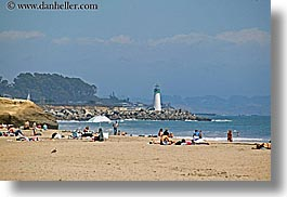 beaches, buildings, california, coastline, crowds, horizontal, hot, lighthouses, nature, ocean, people, santa cruz, structures, water, west coast, western usa, photograph
