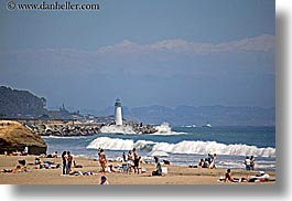 beaches, buildings, california, coastline, crowds, horizontal, hot, lighthouses, nature, ocean, people, santa cruz, structures, water, waves, west coast, western usa, photograph