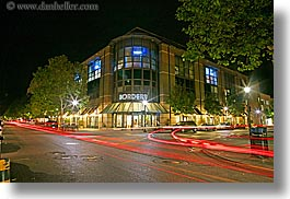 borders, buildings, california, garden mall, horizontal, light streaks, lights, long exposure, motion blur, nature, nite, plants, santa cruz, stores, streaks, structures, trees, west coast, western usa, photograph