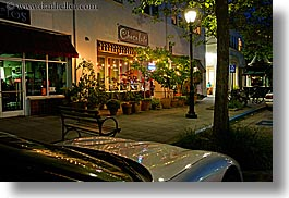 buildings, california, chocolate, garden mall, horizontal, lamp posts, nite, santa cruz, slow exposure, stores, structures, west coast, western usa, photograph