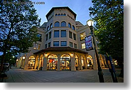 buildings, california, cooper, dusk, garden mall, horizontal, houses, lamp posts, nature, nite, plants, santa cruz, stores, structures, trees, west coast, western usa, photograph