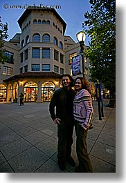 buildings, california, couples, emotions, garden mall, happy, nite, people, santa cruz, smiles, stores, structures, vertical, west coast, western usa, photograph