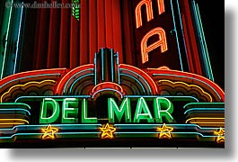 california, colors, del mar, garden mall, horizontal, lights, neon, nite, red, santa cruz, signs, slow exposure, theater, west coast, western usa, photograph