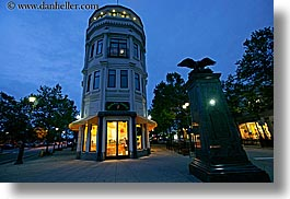 blues, buildings, california, colors, dusk, flatiron, garden mall, horizontal, nite, santa cruz, slow exposure, stores, structures, west coast, western usa, photograph