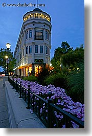 blues, buildings, california, colors, dusk, flatiron, garden mall, nite, santa cruz, slow exposure, stores, structures, vertical, west coast, western usa, photograph