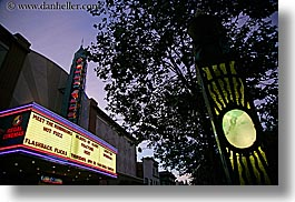 buildings, california, dusk, garden mall, horizontal, lights, marquis, movie, nature, nite, plants, santa cruz, signs, stores, structures, theater, trees, west coast, western usa, photograph