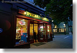buildings, california, garden mall, grill, horizontal, nite, pizza, santa cruz, signs, slow exposure, stores, structures, west coast, western usa, photograph
