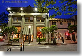 buildings, california, garden mall, horizontal, long exposure, nature, nite, plants, santa cruz, storefronts, stores, structures, trees, west coast, western usa, photograph