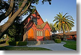 california, churches, horizontal, nature, palm trees, plants, red, santa cruz, trees, west coast, western usa, photograph