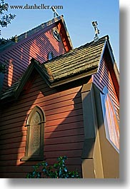 california, churches, perspective, red, santa cruz, upview, vertical, west coast, western usa, photograph