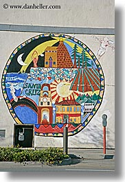 arts, california, meters, murals, paintings, parking, santa cruz, vertical, west coast, western usa, photograph