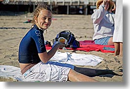 beaches, california, childrens, eating, emotions, girls, happy, horizontal, lindsay, people, santa cruz, smiles, west coast, western usa, photograph