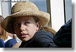 california, childrens, clothes, girls, hats, horizontal, lindsay, people, santa cruz, straw hat, straws, west coast, western usa, photograph