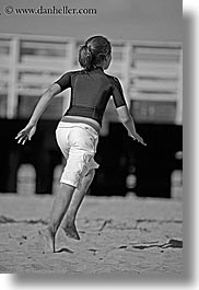activities, beaches, black and white, california, childrens, girls, lindsay, people, running, santa cruz, vertical, west coast, western usa, photograph
