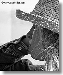 black and white, blonds, california, clothes, hats, jills, people, santa cruz, straws, vertical, west coast, western usa, womens, photograph
