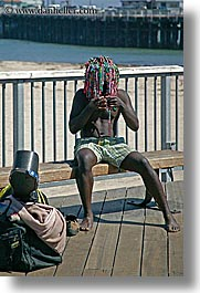 california, colorful, hair, men, people, rasta, santa cruz, vertical, west coast, western usa, photograph