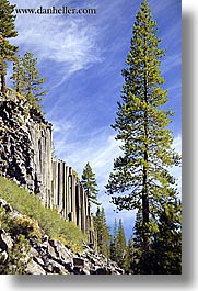 california, devils postpile, national monument, rocks, sierras, trees, vertical, west coast, western usa, photograph