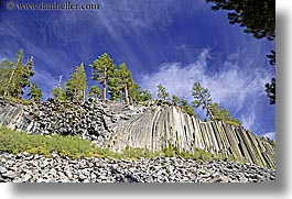 california, devils postpile, horizontal, national monument, rocks, sierras, trees, west coast, western usa, photograph