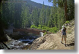 bridge, california, devils postpile, hats, hikers, hiking, horizontal, jills, rivers, sierras, trails, trees, west coast, western usa, womens, photograph