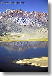 california, devils postpile, lakes, mammoth mountains, mountains, reflections, sierras, vertical, west coast, western usa, photograph